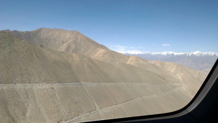 Check out the road! yes, that thin ribbon criss crossing the mountain
